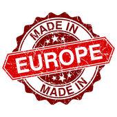 Tillverkad i Europa röd stämpel isolerad på vit bakgrund — Stockvektor