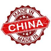 Vyrobeno v Číně červené razítko izolovaných na bílém pozadí — Stock vektor
