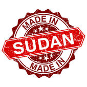 Made in Sudan red stamp isolated on white background — Stock Vector