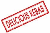 Delicious kebab red square stamp isolated on white background — Stockfoto