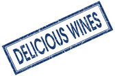 Delicious wines blue square stamp isolated on white background — Stockfoto