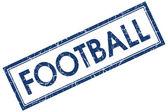 Fotbal modrý čtvereček razítko izolovaných na bílém pozadí — Stock fotografie