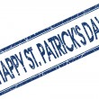 Happy St Patricks day blue square stamp isolated on white background — Stock Photo #58790287