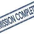 Mission complete blue square stamp isolated on white background — Stock Photo #58791841