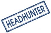 Headhunter blue square stamp isolated on white background — Stock Photo