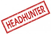 Headhunter red square stamp isolated on white background — Stock Photo