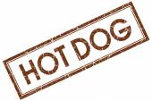 Hot dog brown square stamp isolated on white background — Stock Photo