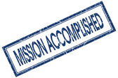 Mission accomplished blue square stamp isolated on white background — Stock Photo