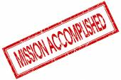 Mission accomplished red square stamp isolated on white background — Stock Photo