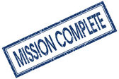 Mission complete blue square stamp isolated on white background — Stock Photo