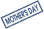 Mothers day blue square stamp isolated on white background — Stock Photo