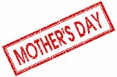 Mothers day red square stamp isolated on white background — Stock Photo