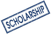 Scholarship blue square stamp isolated on white background — Stock Photo