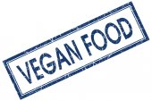 Vegan food blue square stamp isolated on white background — Foto de Stock