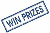 Win prizes blue square stamp isolated on white background — Stock Photo