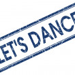 Lets dance blue square stamp isolated on white background — Stock Photo #59592533
