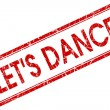 Lets dance red square stamp isolated on white background — Stock Photo #59592535