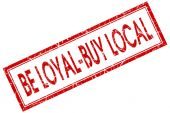 Be loyal buy local red square stamp isolated on white background — Stock Photo