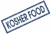 Kosher food blue square stamp isolated on white background — Stock Photo