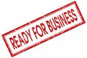 Pronto para o negócio quadrado vermelho selo isolado no fundo branco — Fotografia Stock