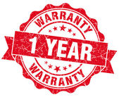 1 year warranty red vintage isolated seal — Stockfoto
