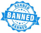 Banned blue vintage isolated seal — Stock Photo