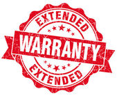 Extended warranty red grunge seal isolated on white — Stock Photo