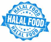 Halal food blue grunge seal isolated on white — Стоковое фото