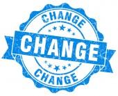 Change blue grunge seal isolated on white — Zdjęcie stockowe