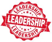 Leadership red grunge seal isolated on white — Stock Photo