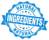 Natural ingredients blue grunge seal isolated on white — Fotografia Stock