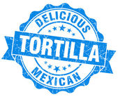 Tortilla blue grunge seal isolated on white — Stock Photo