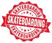 Skateboarding red grunge seal isolated on white — Stock Photo