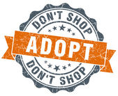 Adopt don't shop orange vintage seal isolated on white — Foto Stock