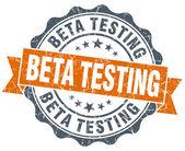 Beta testing orange vintage seal isolated on white — Stok fotoğraf