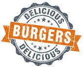 Burgers orange vintage seal isolated on white — ストック写真