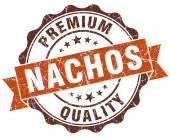 Nachos brown vintage seal isolated on white — Stockfoto