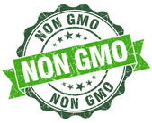Non gmo green vintage seal isolated on white — Stock Photo