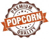 Popcorn brown vintage seal isolated on white — Stockfoto
