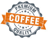 Coffee premium quality orange vintage seal isolated on white — Stock fotografie
