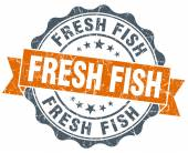 Fresh fish orange vintage seal isolated on white — Foto Stock