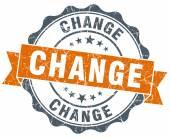Change vintage orange seal isolated on white — Stock Photo
