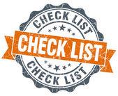 Check list vintage orange seal isolated on white — ストック写真