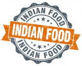 Indian food vintage orange seal isolated on white — Stock Photo