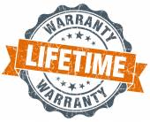 Lifetime warranty vintage orange seal isolated on white — Stock Photo