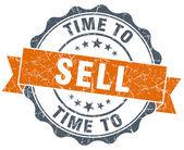 Time to sell vintage orange seal isolated on white — Foto de Stock
