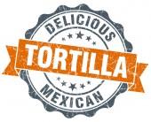 Tortilla vintage orange seal isolated on white — Stockfoto