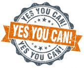 Yes you can! vintage orange seal isolated on white — Foto de Stock