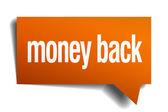 Money back orange speech bubble isolated on white — Vector de stock
