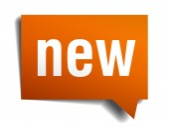New orange speech bubble isolated on white — Vector de stock